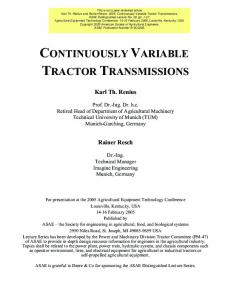 CONTINUOUSLY VARIABLE TRACTOR TRANSMISSIONS