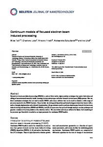 Continuum models of focused electron beam induced ... - Empa
