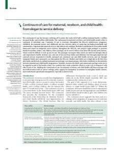 Continuum of care for maternal, newborn, and child health: from ...