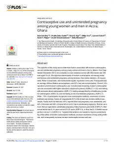 Contraceptive use and unintended pregnancy among young women