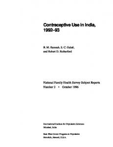 Contraceptive Use in India, 1992-93 - numerons