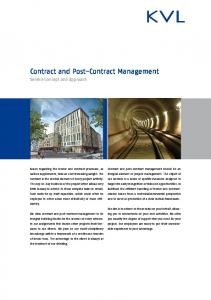 Contract and Post-Contract Management (PDF)