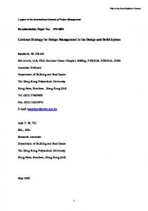Contract strategy for design management in the design and build ...