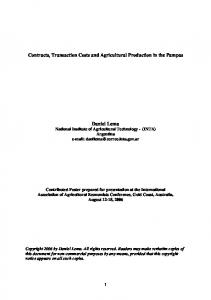 Contracts, Transaction Costs and Agricultural ... - AgEcon Search
