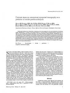 Contrast stasis on noncontrast computed tomography as a predictor of ...