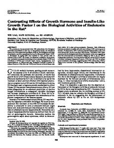 Contrasting Effects of Growth Hormone and Insulin-Like Growth Factor ...