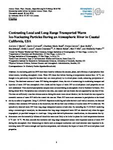 Contrasting Local and Long-Range Transported Warm Ice-Nucleating ...