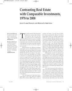 Contrasting Real Estate with Comparable Investments ... - CiteSeerX