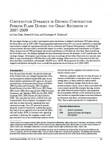 Contribution Dynamics in Defined Contribution ... - Social Security