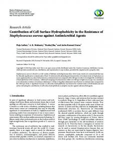 Contribution of Cell Surface Hydrophobicity in the Resistance of