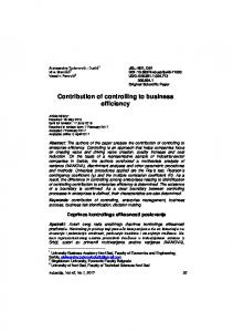 Contribution of controlling to business efficiency