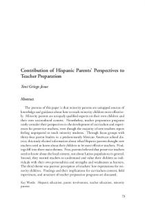 Contribution of Hispanic Parents' Perspectives to Teacher ... - ADI.org