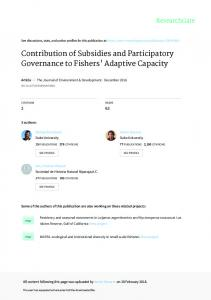 Contribution of Subsidies and Participatory