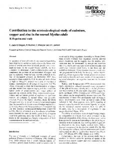 Contribution to the ecotoxicological study of cadmium, copper and zinc ...