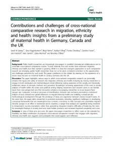 Contributions and challenges of cross-national ... - BioMedSearch