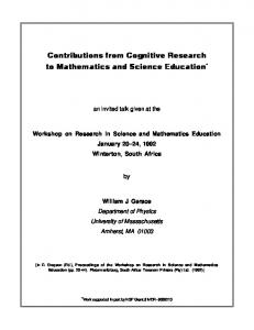 Contributions from Cognitive Research to Mathematics ... - CiteSeerX