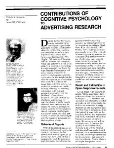 contributions of cognitive psychology to advertising ...