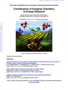 Contributions of Inorganic Chemistry to Energy