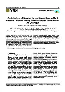 Contributions of Selected Indian Researchers to Multi ...