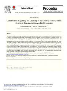 Contributions Regarding the Learning of the Specific ... - ScienceDirect