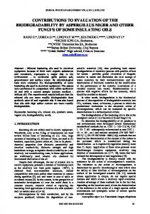 contributions to evaluation of the biodegradability by aspergillus niger ...