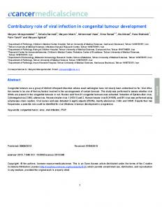 Contributory role of viral infection in congenital