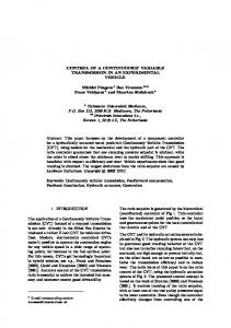 CONTROL OF A CONTINUOUSLY VARIABLE TRANSMISSION IN ...