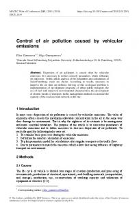 Control of air pollution caused by vehicular emissions