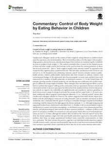 Control of Body Weight by Eating Behavior in Children - Frontiers