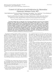 Control of Cell Survival and Proliferation by Mammalian Eukaryotic ...