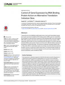 Control of Gene Expression by RNA Binding Protein Action on ...
