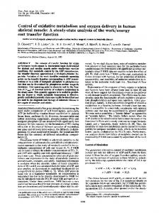 Control of oxidative metabolism and oxygen delivery in ... - Europe PMC