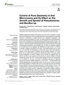 Control of Pore Geometry in Soil Microcosms and ... - Abertay University
