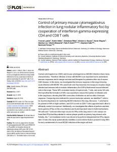 Control of primary mouse cytomegalovirus infection in lung ... - PLOS