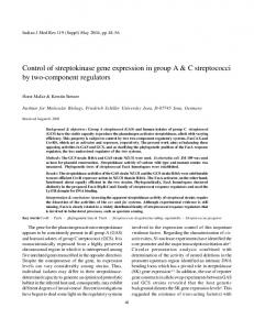 Control of streptokinase gene expression in group ... - Semantic Scholar
