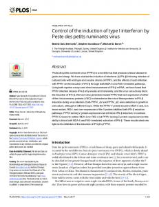 Control of the induction of type I interferon by Peste