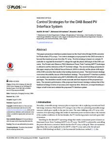 Control Strategies for the DAB Based PV Interface