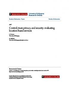 Control, trust, privacy, and security: evaluating ...