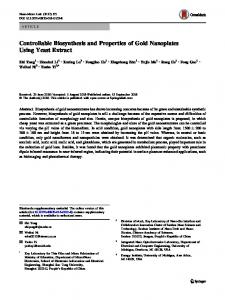 Controllable Biosynthesis and Properties of Gold ... - Springer Link