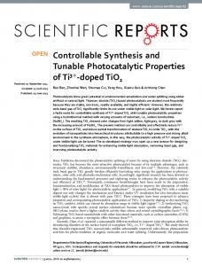 Controllable Synthesis and Tunable Photocatalytic