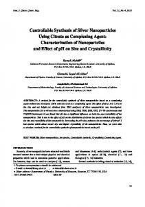 Controllable Synthesis of Silver Nanoparticles Using Citrate as ...