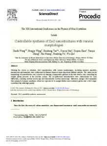 Controllable Synthesis of ZnO Nanostructures with ... - ScienceDirect
