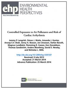 Controlled Exposures to Air Pollutants and Risk of Cardiac Arrhythmia