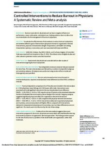 Controlled Interventions to Reduce Burnout in ...