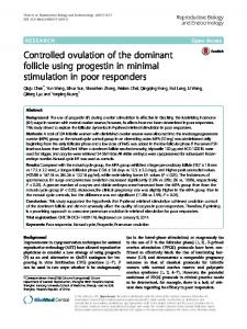Controlled ovulation of the dominant follicle using progestin in minimal ...