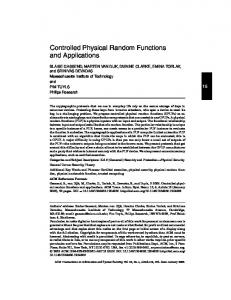Controlled Physical Random Functions and Applications - CiteSeerX