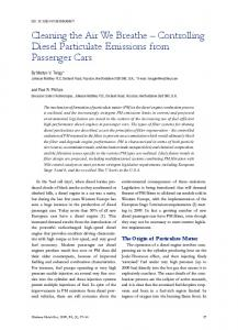 Controlling Diesel Particulate Emissions from Passenger Cars