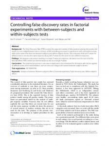 Controlling false discovery rates in factorial experiments with between ...