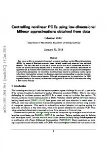 Controlling nonlinear PDEs using low-dimensional bilinear