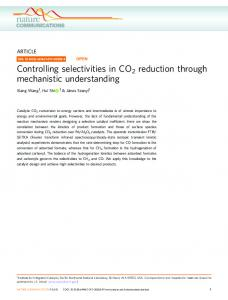 Controlling selectivities in CO2 reduction through ... - OSTI.GOV
